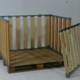 Palletbox met inklapbare opzetwand