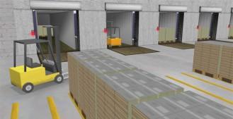 Warehouse Simulator op twee grote schermen