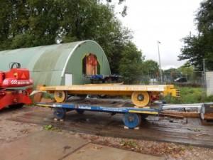 Lorries voor de bijzondere transporten. Foto: Metro en Tram