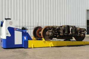 Maatwerk pallettruck voor transport treinonderstel